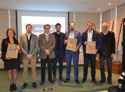 Arlei Cavaletti, Marcelo Pacheco, Fábio Vendruscolo, Valdir Farina com os executivos do Grupo RBS Mauro Vanin, Antonio Donádio e Leonardo Pérsico