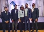 Presidente da ACCIE Fábio Vendruscolo com a presidente Simone Leite, o vereador Renan Soccol, , Neri Freizzo e Gladstone Mársico Filho